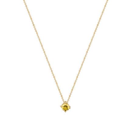 Ασημένιο Μενταγιόν Μονόπετρο 925 Κίτρινο Επίχρυσο Με Κίτρινη Πέτρα (κωδ: AM583)