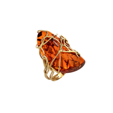 Χειροποίητο Χρυσό Δαχτυλίδι 18Κ Κεχριμπάρι Amber