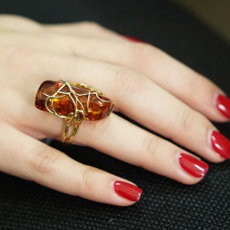 Χειροποίητο Χρυσό Δαχτυλίδι Κεχριμπάρι 18Κ Γυναικείο