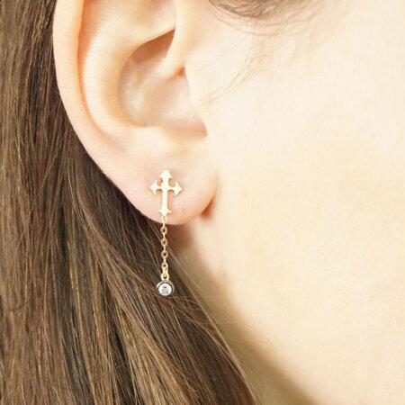 Χρυσά Κρεμαστά Σκουλαρίκια Με Σταυρούς Και Ζιργκόν 9Κ Γυναικεία