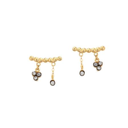 Χρυσά Σκουλαρίκια Καρφωτά Με Κρεμαστά Στοιχεία 9Κ (κωδ: GE337)