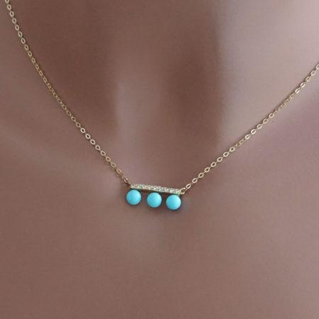 Χρυσό Κολιέ Με Γαλάζιες Πέτρες 9 Καρατίων