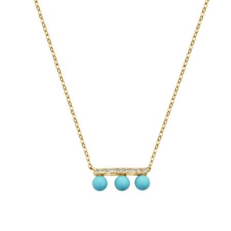 Χρυσό Κολιέ Με Γαλάζιες Πέτρες 9 Καρατίων (κωδ: GK194)