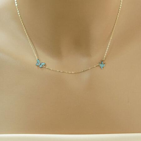 Χρυσό Κολιέ Πεταλούδα Και Χελιδόνι 9Κ Με Γαλάζιες Ζιργκόν Γυναικείο