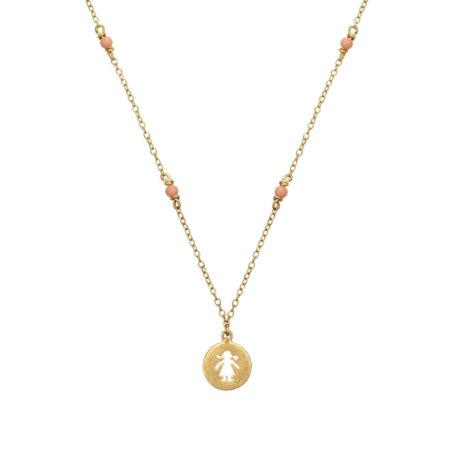 Χρυσό Κρεμαστό Κορίτσι Με Ροζ Πέτρες 9 Καράτια (κωδ: GK173)