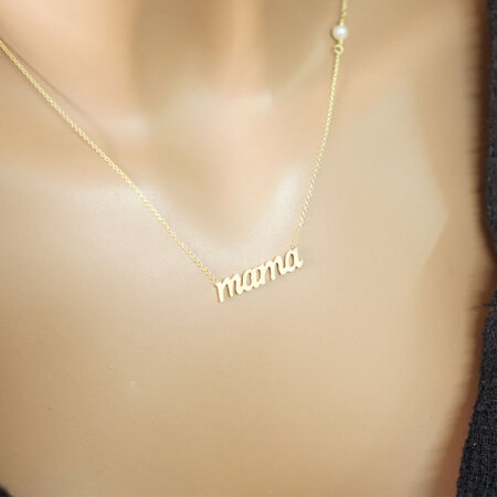 Χρυσό Κρεμαστό Mama 9K Με Λευκό Μαργαριτάρι