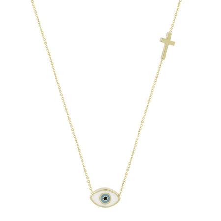Χρυσό Κρεμαστό Μάτι 9 Καράτια Με Σταυρουδάκι (κωδ: GK128)