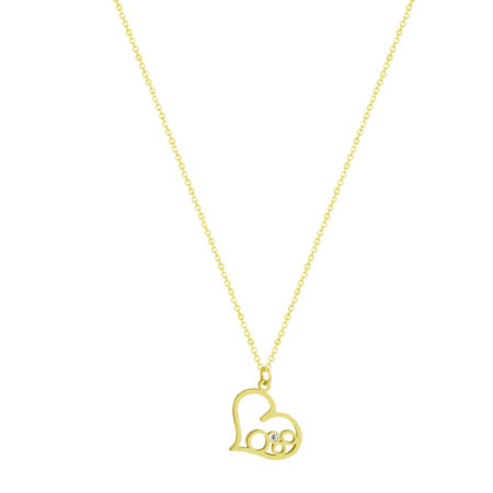 Χρυσό Μενταγιόν Καρδιά 9 Καράτια Με Αλυσίδα (κωδ: GM272)