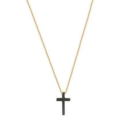 Χρυσό Σταυρουδάκι Με Μαύρο Πλατίνωμα Και Αλυσίδα 9 Καράτια (κωδ: GC595)