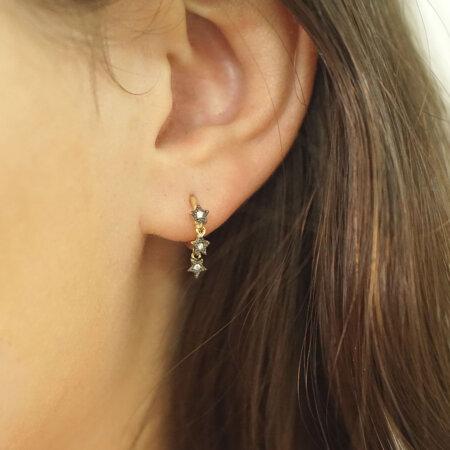 Χρυσοί Μικροί Κρίκοι 9Κ Με Αστεράκια Με Πέτρες