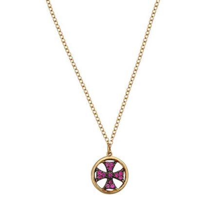 Χρυσός Σταυρός Σε Κύκλο Με Ροζ Πέτρες 9Κ (κωδ: GC590)