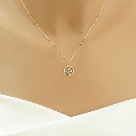 Διάτρητος Σταυρός Χρυσός Με Λευκές Πέτρες 9Κ Λουστρέ