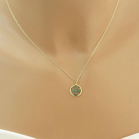 Διάτρητος Σταυρός Χρυσός Με Πράσινες Πέτρες 9Κ Λουστρέ