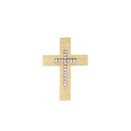 Διπλής Όψης Χρυσός Σταυρός 14 Καρατίων Με Ζιργκόν Πέτρες Βάπτιση Αρραβώνας Γάμος Για Γυναίκα Και Κορίτσι