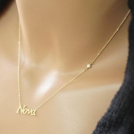 Γυναικείο Κρεμαστό Νονά Χρυσό 9 Καράτια Με Λευκό Μαργαριτάρι