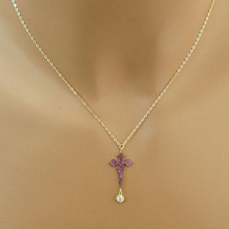 Γυναικείος Σταυρός Με Αλυσίδα Και Φουξ Πέτρες Σε Χρυσό 9Κ Μοντέρνος