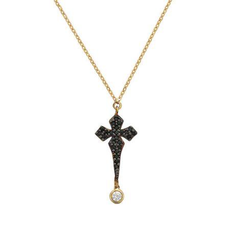 Γυναικείος Σταυρός Σε Χρυσό 9 Καράτια Με Μαύρες Πέτρες (κωδ: GC592)
