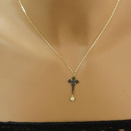 Γυναικείος Σταυρός Σε Χρυσό 9 Καράτια Με Μαύρες Πέτρες Λουστρέ