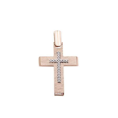 Γυναικείος Σταυρός Με Ζιργκόν Πέτρες Σε Ροζ Χρυσό 14 Καράτια (κωδ: GC643)