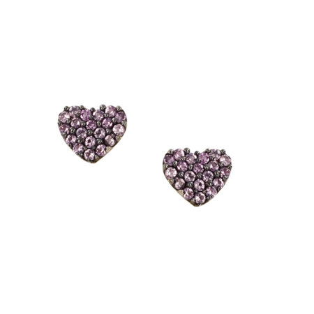 Καρφωτά Χρυσά Σκουλαρίκια Με Μωβ Πέτρες Σε Σχήμα Καρδιάς 9Κ