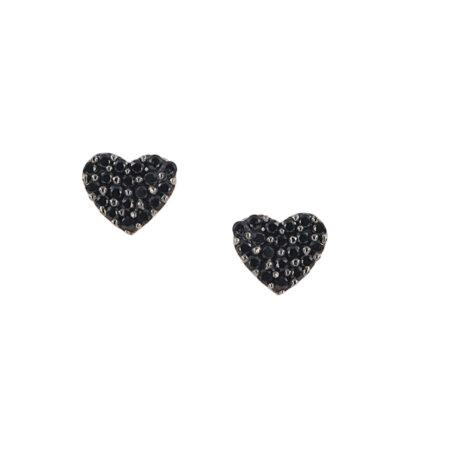 Καρφωτά Σκουλαρίκια Καρδιά Με Μαύρες Πέτρες Ζιργκόν Σε Ροζ Χρυσό 9Κ