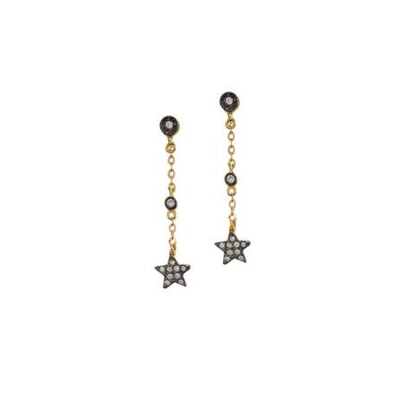 Κρεμαστά Σκουλαρίκια Με Αστέρι Από Χρυσό 9 Καρατίων (κωδ: GE335)