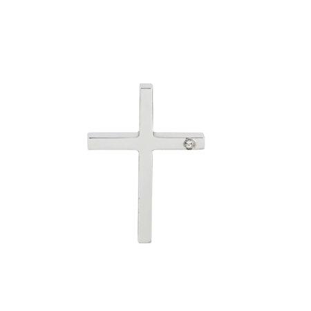 Λευκόχρυσος Σταυρός Γυναικείος 14Κ Με Ζιργκόν Πέτρα (κωδ: GC616)