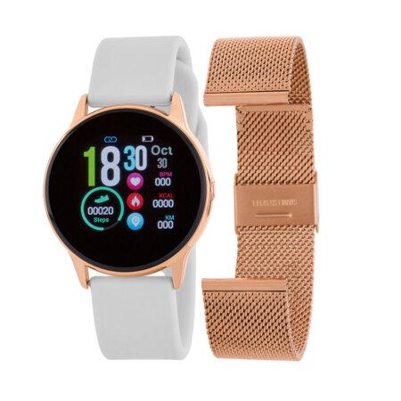 Marea Smartwatch Λευκό Λουράκι Καουτσούκ Δώρο Ροζ Χρυσό Μπρασελέ Unisex B58001-5
