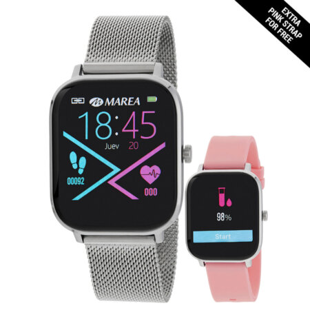 Marea Smartwatch Με Μπρασελέ Mesh Μεταλλικό Δώρο Ροζ Λουράκι Καουτσούκ B58006-7