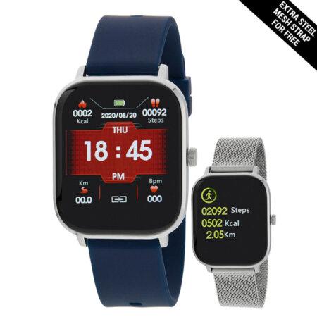 Marea Smartwatch Μπλε Λουράκι Καουτσούκ Δώρο Μεταλλικό Mesh Μπρασελέ B58006-6
