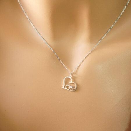 Μενταγιόν Καρδιά Λευκόχρυσο 9Κ