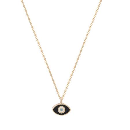 Μενταγιόν Ματάκι Ροζ Χρυσό 9Κ Με Αλυσίδα (κωδ: GM267)