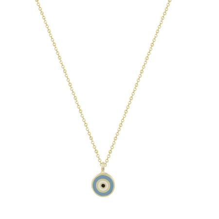Μενταγιόν Μάτι Χρυσό 9 Καρατίων Με Γαλάζιο Σμάλτο (κωδ: GM268)