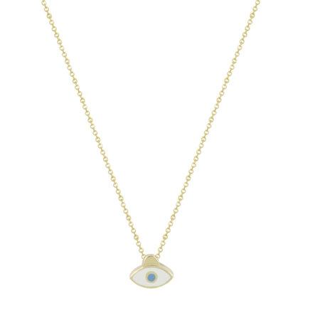 Μενταγιόν Μάτι Σε Κίτρινο Χρυσό 9 Καρατίων Με Λευκό Σμάλτο (κωδ: GM269)