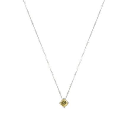 Μενταγιόν Με Ζιργκόν Κίτρινη Πέτρα Από Ασήμι 925 (κωδ: AM584)