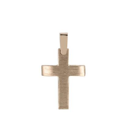 Μοντέρνος Ροζ Χρυσός Σταυρός 14Κ Γυναικείος (κωδ: GC614)