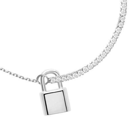 PDPAOLA Bond Ασημένιο Βραχιόλι Γυναικείο 925 Λουκέτο Λευκές Ζιργκόν Πέτρες PU02-046-U