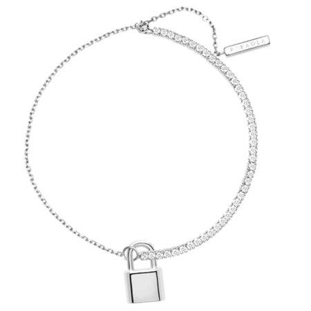 PDPAOLA Bond Ασημένιο Βραχιόλι Γυναικείο Λουκέτο 925 Λευκές Ζιργκόν Πέτρες PU02-046-U