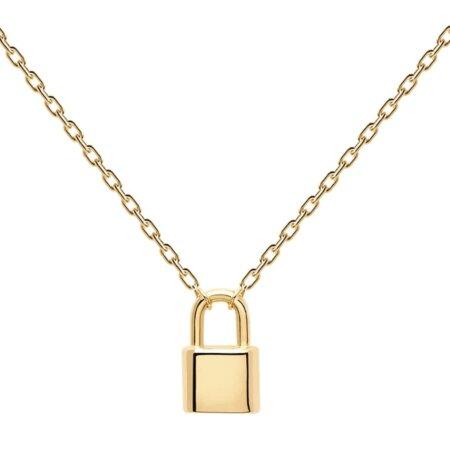 PDPAOLA Bond Gold Κολιέ Λουκέτο Ασήμι 925 Επιχρύσωμα 18Κ CO01-086-U