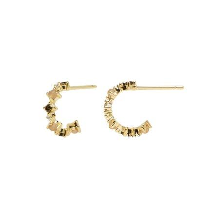 PDPAOLA Glory Σκουλαρίκια Κρίκοι Με Πέτρες Πολύχρωμες Ασήμι 925 Επιχρύσωμα 18Κ AR01-220-U