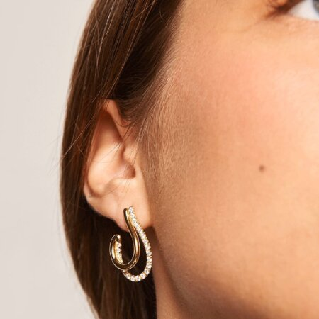 PDPAOLA Koi Gold Κρεμαστά Σκουλαρίκια Με Ζιργκόν Πέτρες Επιχρύσωμα 18Κ AR01-198-U