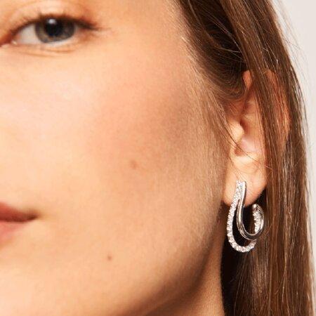 PDPAOLA Koi Silver Σκουλαρίκια Κρεμαστά Με Πέτρες Λευκές Ζιργκόν Γυναικεία AR02-198-U
