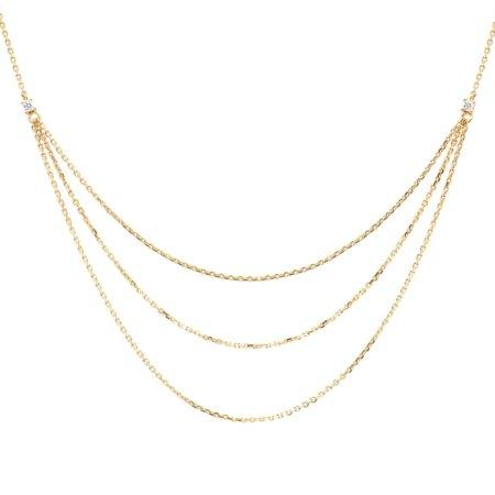 PDPAOLA Κολιέ Με Τριπλή Αλυσίδα Ασήμι 925 Επιχρύσωμα 18Κ Ζιργκόν Πέτρες CO01-140-U
