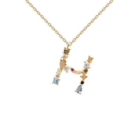 PDPAOLA Κρεμαστό Μονόγραμμα Η Με Αλυσίδα Ασήμι 925 Επιχρύσωμα 18K CO01-103-U