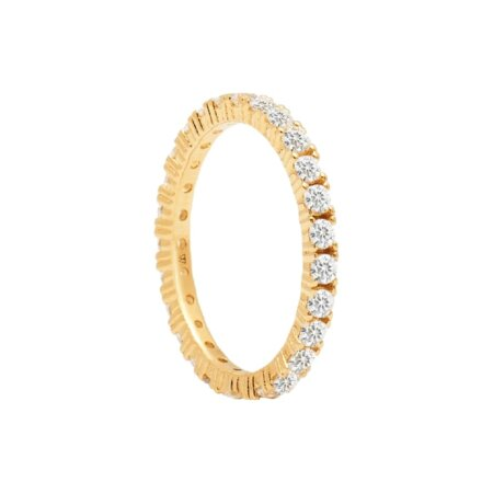 PDPAOLA Naomi Ολόβερο Δαχτυλίδι Με Ζιργκόν Πέτρες Από Ασήμι 925 Επιχρύσωμα 18Κ AN01-144-1