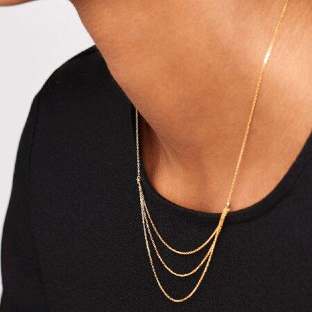 PDPAOLA Nia Gold Κολιέ Με Τριπλή Αλυσίδα Ασήμι 925 Επιχρύσωμα 18Κ Ζιργκόν Πέτρες CO01-140-U