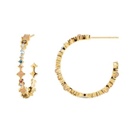 PDPAOLA Σκουλαρίκια Κρίκοι Με Πέτρες Πολύχρωμες Ασήμι 925 Επιχρύσωμα 18Κ AR01-221-U