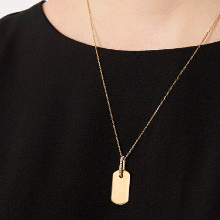 PDPAOLA Talisman Gold Γυναικείο Κολιέ Ταυτότητα Ασήμι 925 Επιχρύσωμα 18 Καρατίων Ζιργκόν Πέτρες CO01-087-U