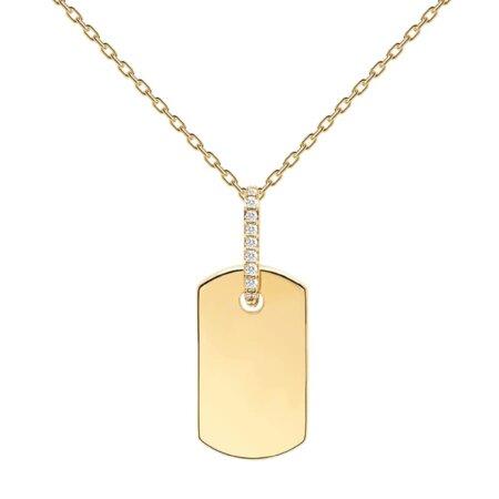 PDPAOLA Talisman Gold Γυναικείο Κολιέ Ταυτότητα Ασήμι 925 Επιχρύσωμα 18Κ Ζιργκόν Πέτρες CO01-087-U