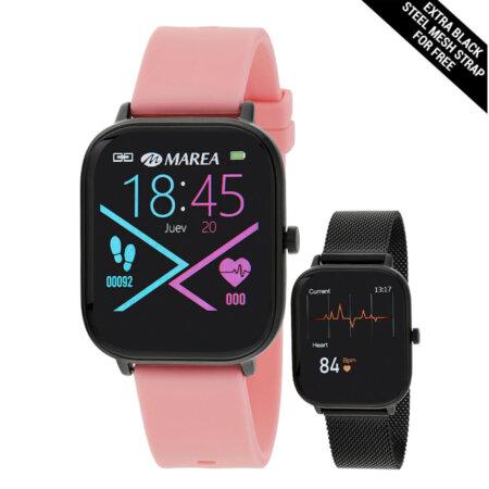 Ρολόι Marea Smartwatch B58006-3 Ροζ Λουράκι Καουτσούκ Δώρο Mesh Μπρασελέ